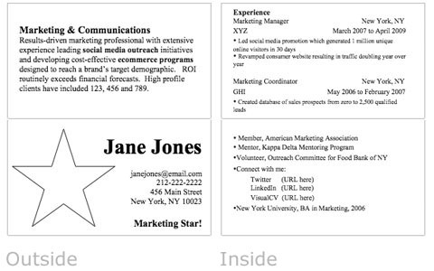 resume business card as